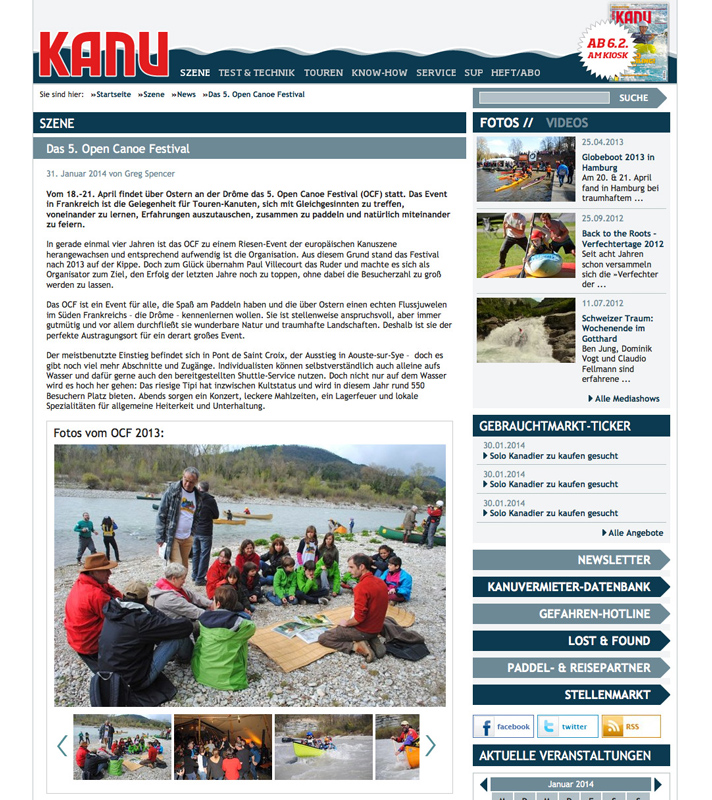 Kanu Magazin (web). Germany. 2014